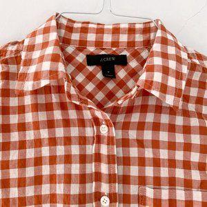 J. Crew Tops - JCrew tie-front gingham stretch-cotton shirt